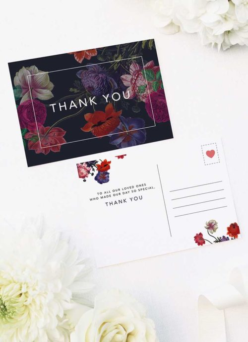 Deep Dramatic Dark Floral Wedding Thank You Postcards Moody Dark Floral Wedding Invitations