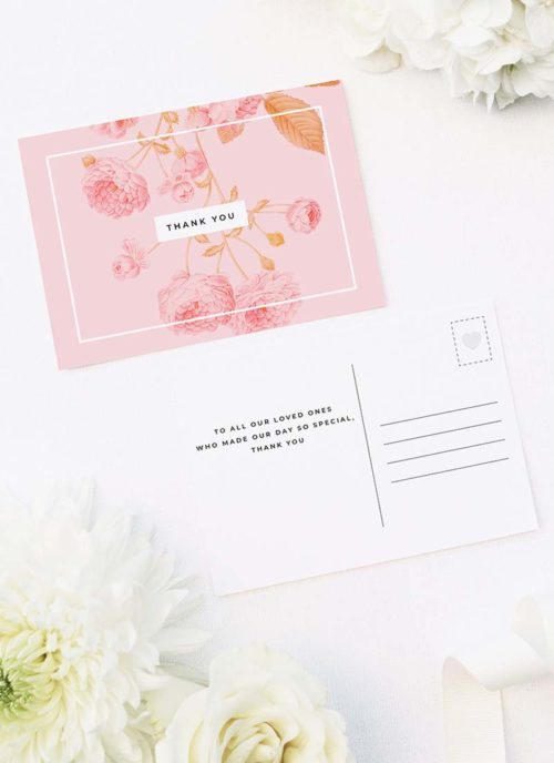 Light Pink Modern Botanical Wedding Thank You Postcards Light Pink Modern Botanical Wedding Invitations
