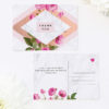 Modern Pink Floral Rose Gold Wedding Thank You Postcards Floral Rose Gold Foil Marble Wedding Invitations