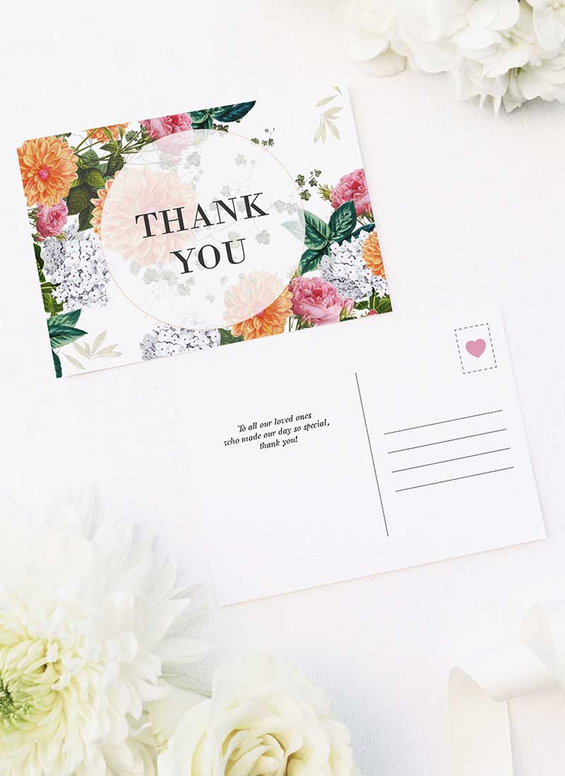 Peach Dahlias Pink Roses Botanical Wedding Thank You Postcards Pink Peach Orange Botanical Wedding Invitations
