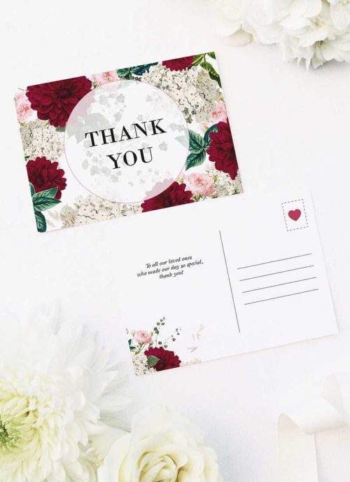 Crimson Red Floral Burgundy Wedding Thank You Postcards Floral Burgundy Wedding Invitations