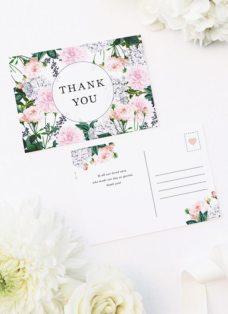 Berries Elegant Pastel Floral Wedding Thank You Postcards Elegant Dahlia Pastel Floral Wedding Invitations