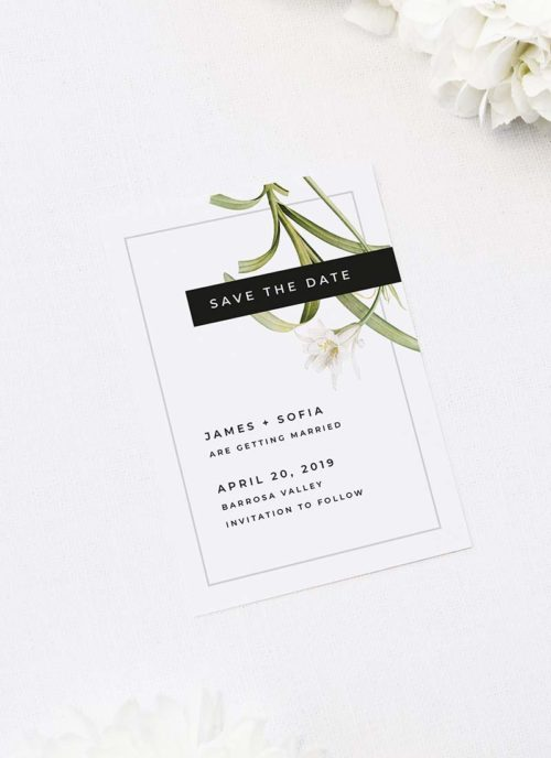 Modern White Lily Flower Save the Dates Modern Lily Flower Wedding Invitations
