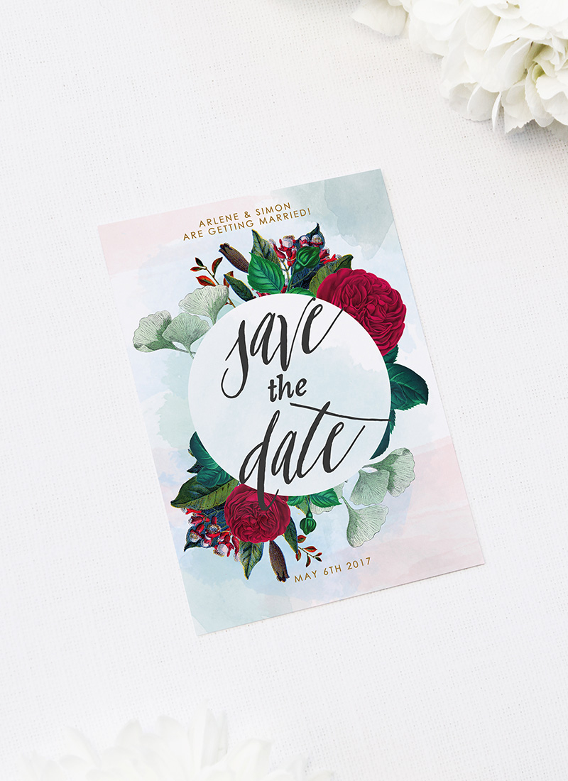Burgundy Floral Save the Dates Ruby Red Rose Burgundy Floral Wedding Invitations