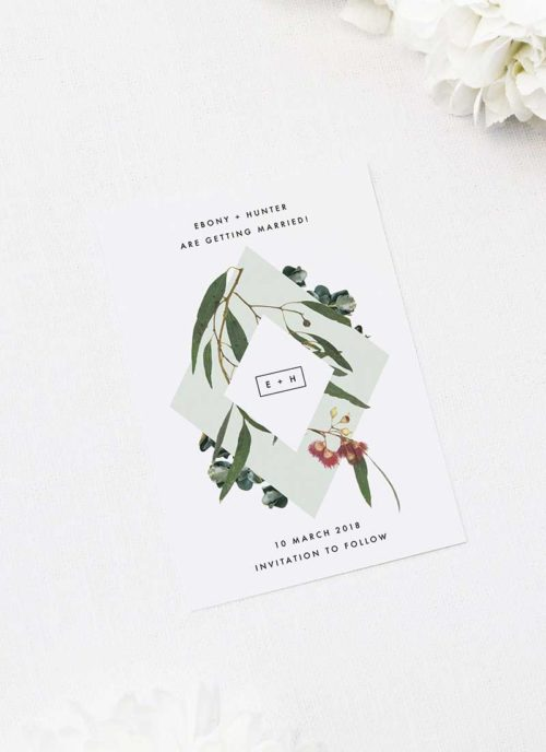 Eucalyptus Leaves Native Botanical Save the Dates Eucalyptus Leaves Native Botanical Floral Wedding Invitations