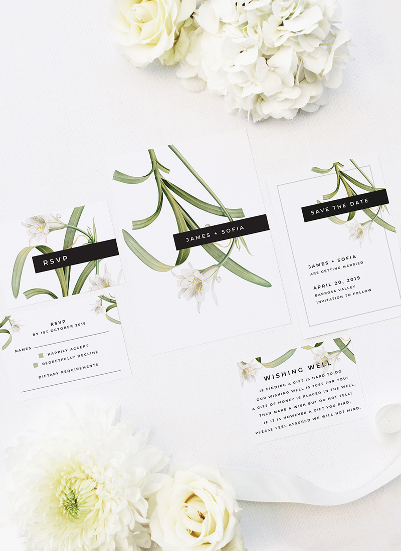 Modern Lily Flower Wedding Invitations