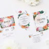 Pink Peach Orange Botanical Wedding Invitations