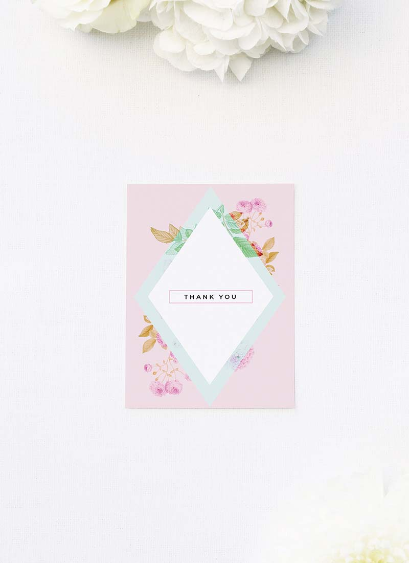 Modern Pastel Pink Geometric Wedding Thank You Cards Modern Pastel Pink Blue Green Geometric Wedding Invitations