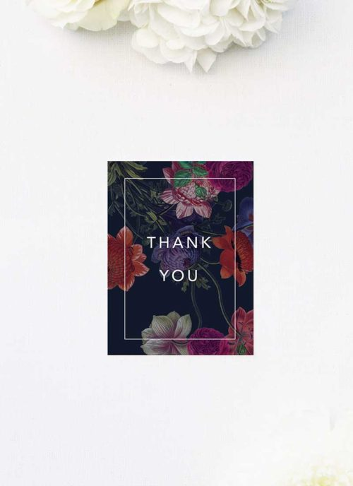Deep Dramatic Dark Floral Wedding Thank You Cards Moody Dark Floral Wedding Invitations