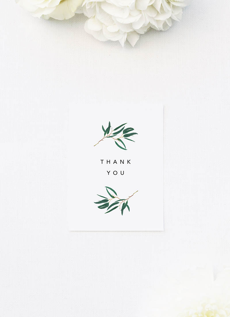 Simple Elegant Eucalyptus Wedding Thank You Cards Simple Elegant Eucalyptus Green Leaves Wedding Invitations