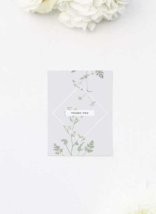 Pale Grey Modern Botanical Thank You Cards Pale Grey Modern Botanical Wedding Invites