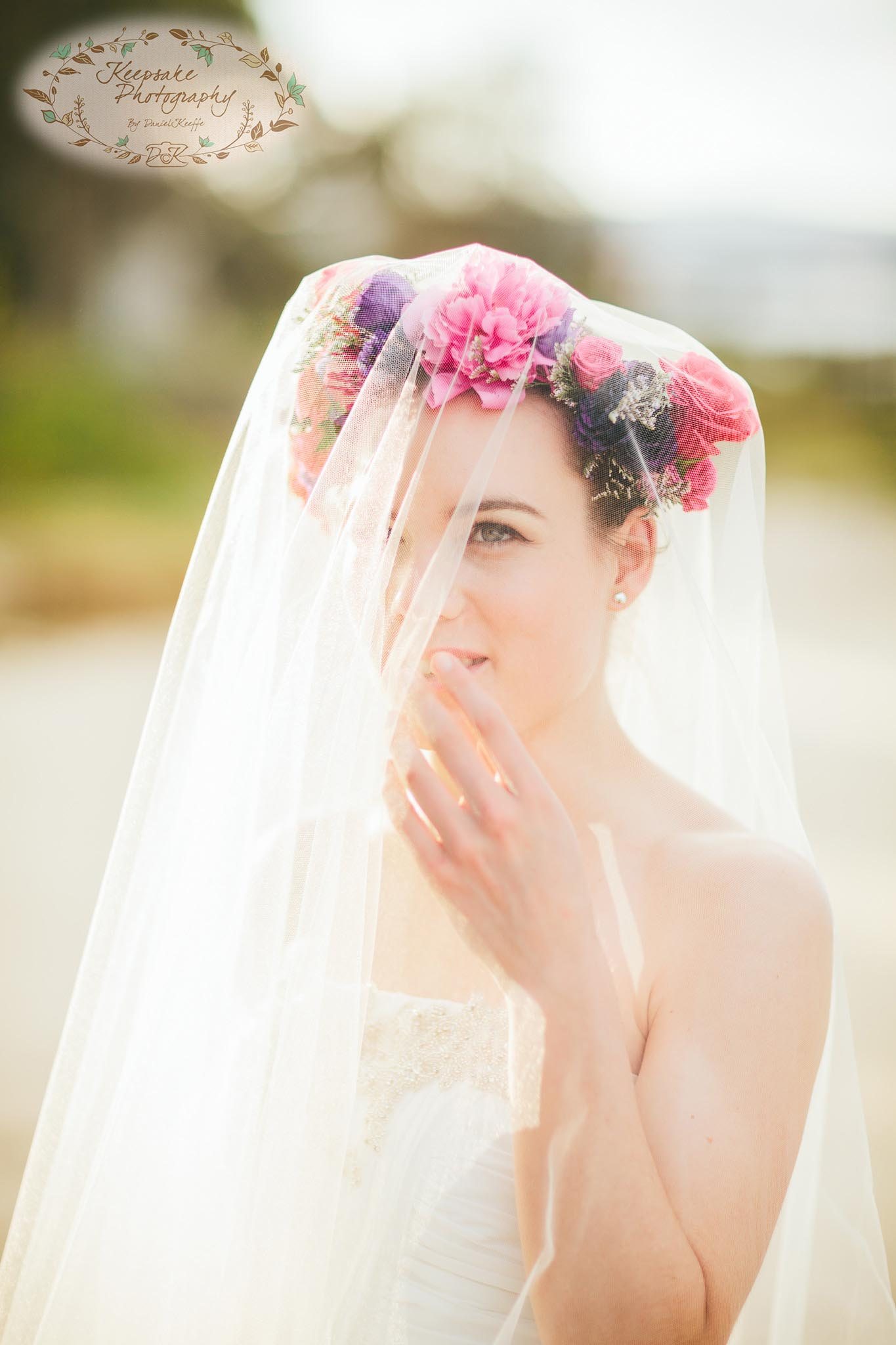 flower crown veil wedding inspiration beach sea ocean sail and swan rustic vintage trendy