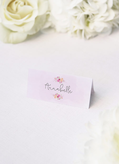 Floral Wreath Pastel Watercolour Wedding Name Place Cards Floral Wreath Pastel Watercolour Wedding Invitations