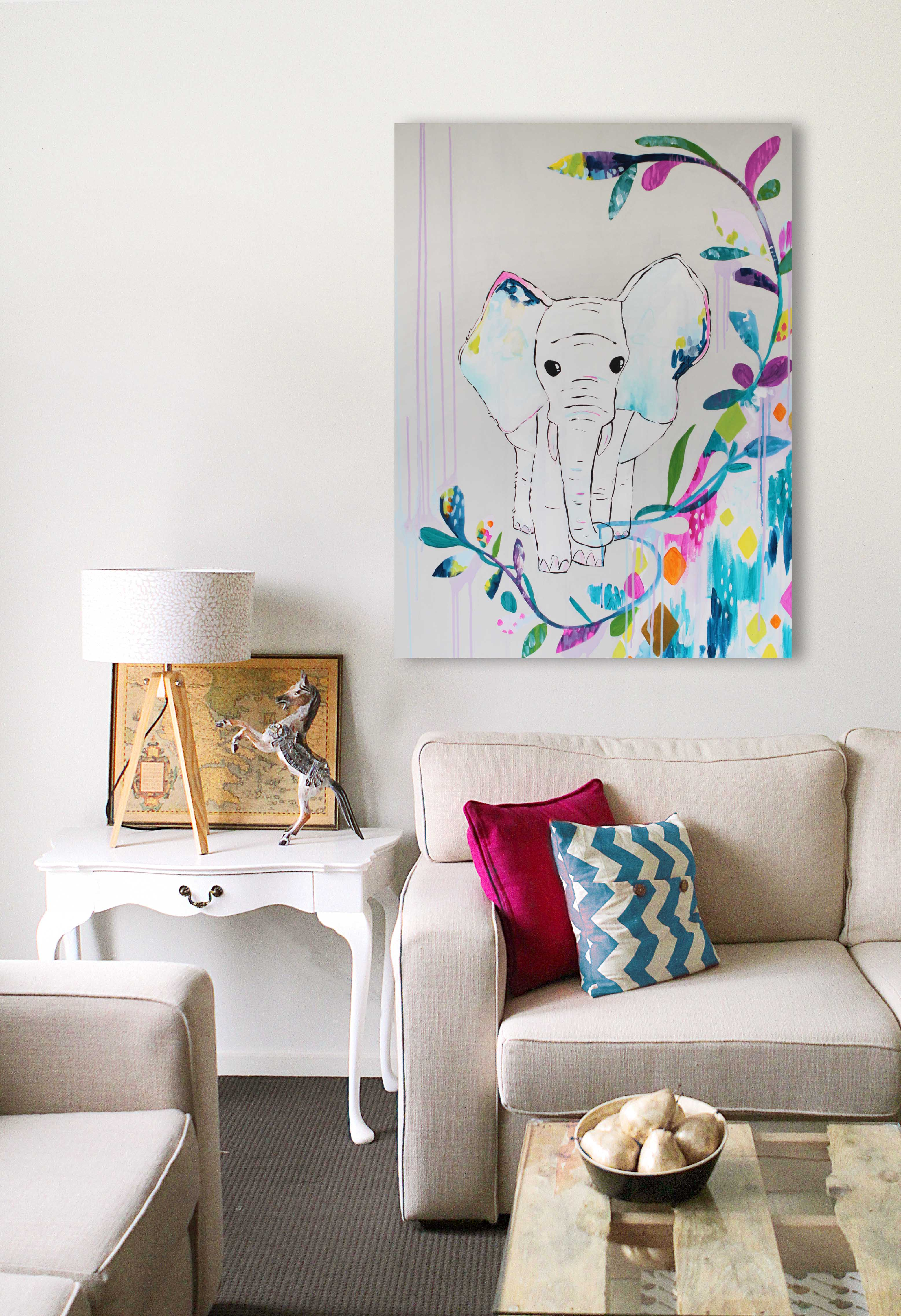 original paintings for sale artworks animal deer horse elephant illustration artist sail and swan melbourne adelaide perth australia colourful bright gold grey blue turquoise