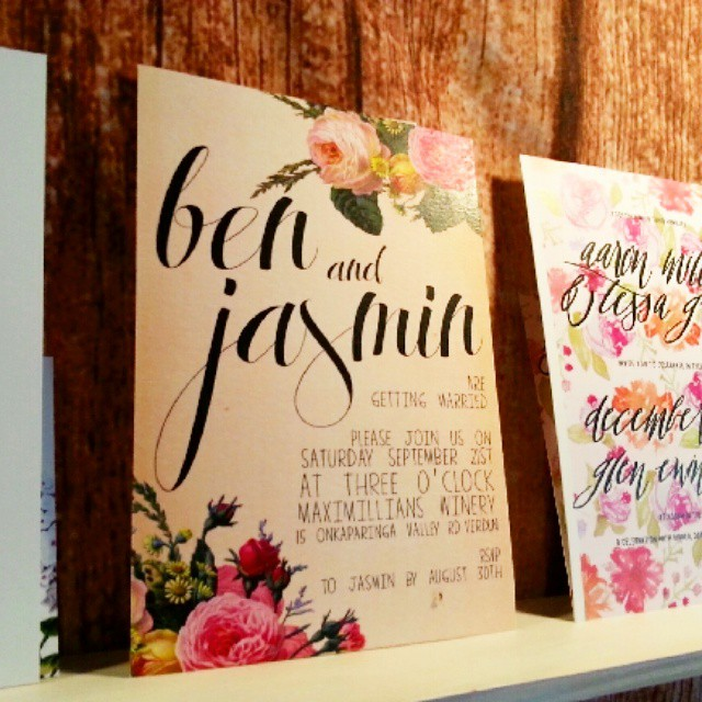 chateau tanunda wedding open day wedding invitations stationery sail and swan rustic vintage floral bright colourful