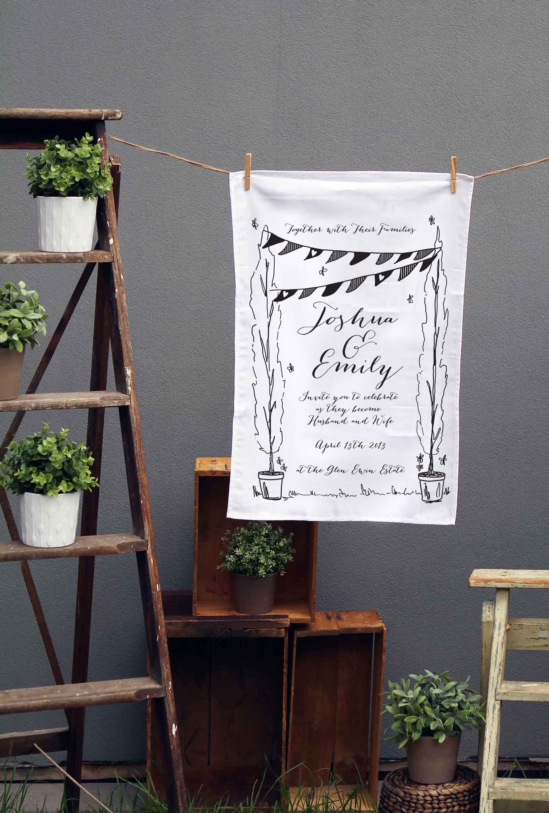 Garden Party Wedding Tea Towels Sail and Swan stationery australia bunting flags calligraphy rustic vintage perth melbourne sydney adelaide