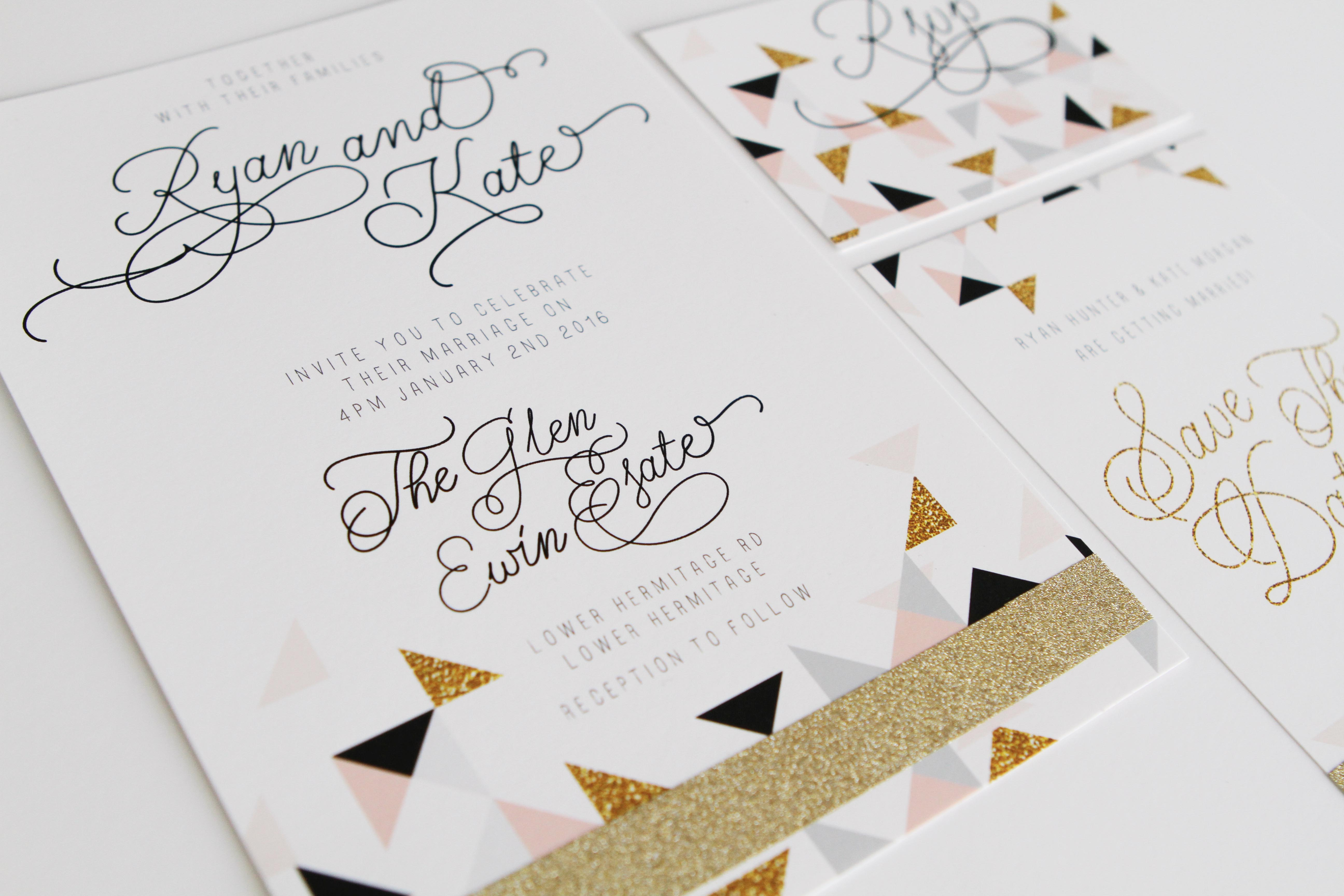 triangle glitter invitations sail and swan
