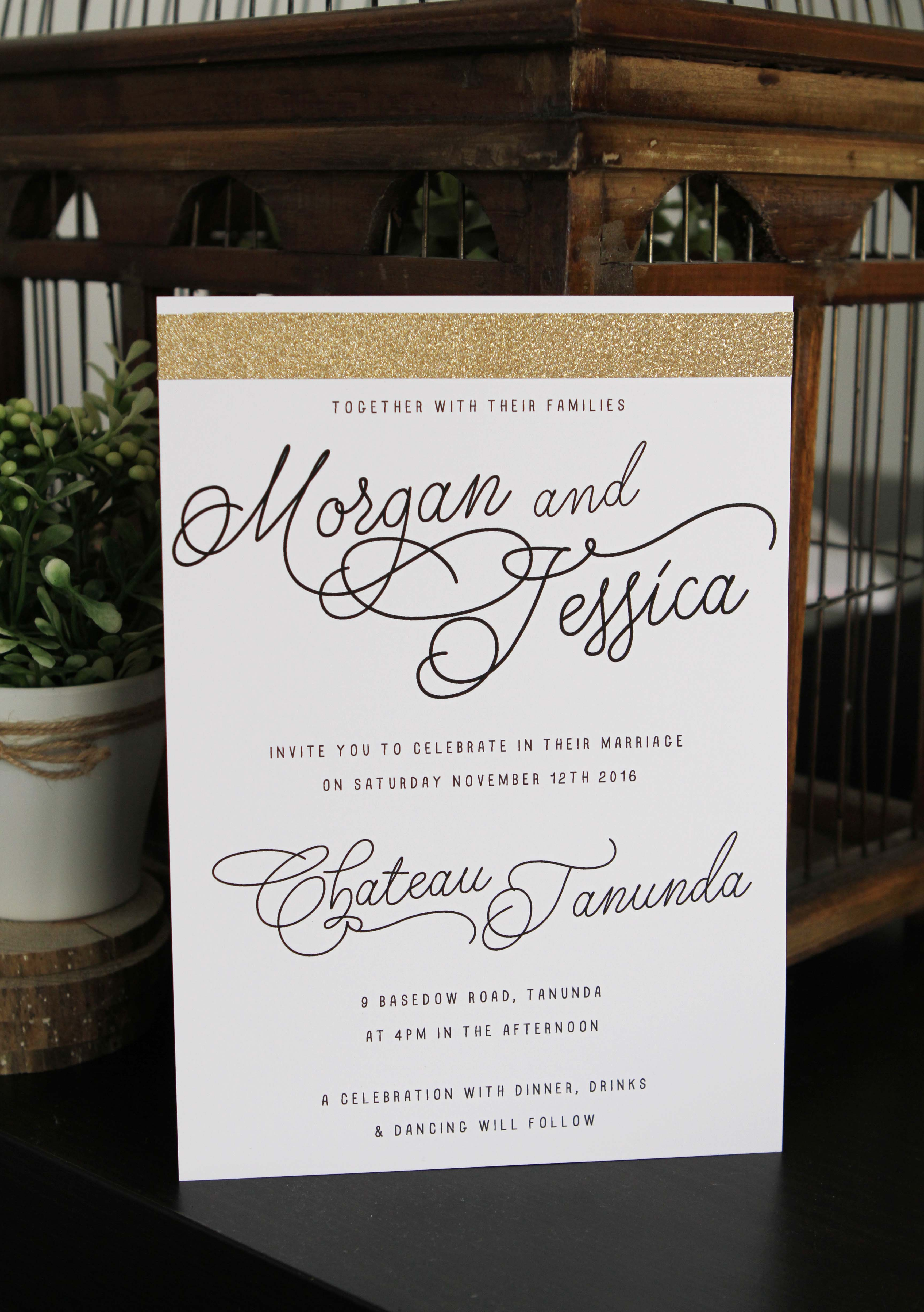 Gold Glitter Invitations by Sail and Swan