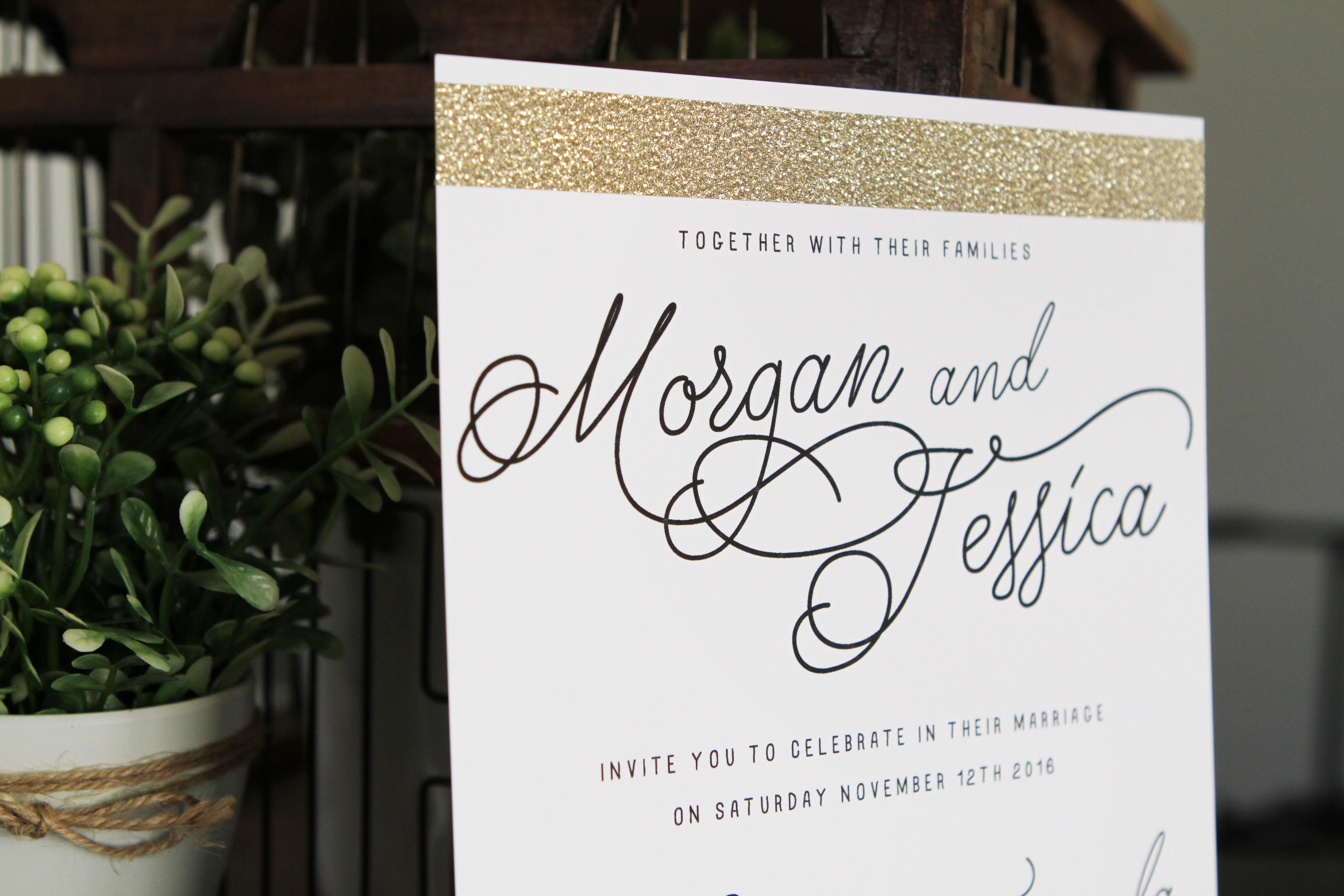 Gold Glitter Wedding Invitations Chic Modern Glam stationery calligraphy pretty australia perth melbourne sydney adelaide sail and swan