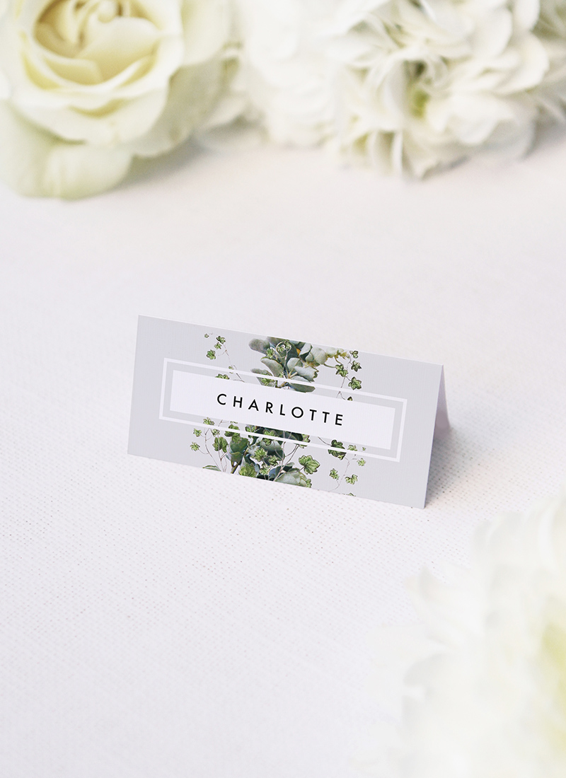 Modern Minimal Grey Green Botanical Wedding Name Place Cards Elegant Botanical Grey White Green Wedding Invitations