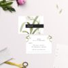 Green White Black Modern Vintage Botanical Wedding Invitations