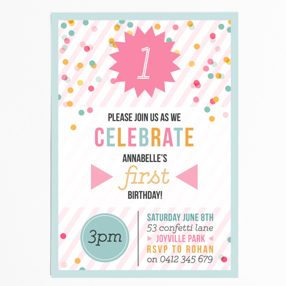 Confetti Kids Birthday Invitations