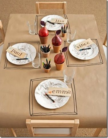 Christmas Table Setting Ideas brown kraft paper butchers paper table cloth sail and swan