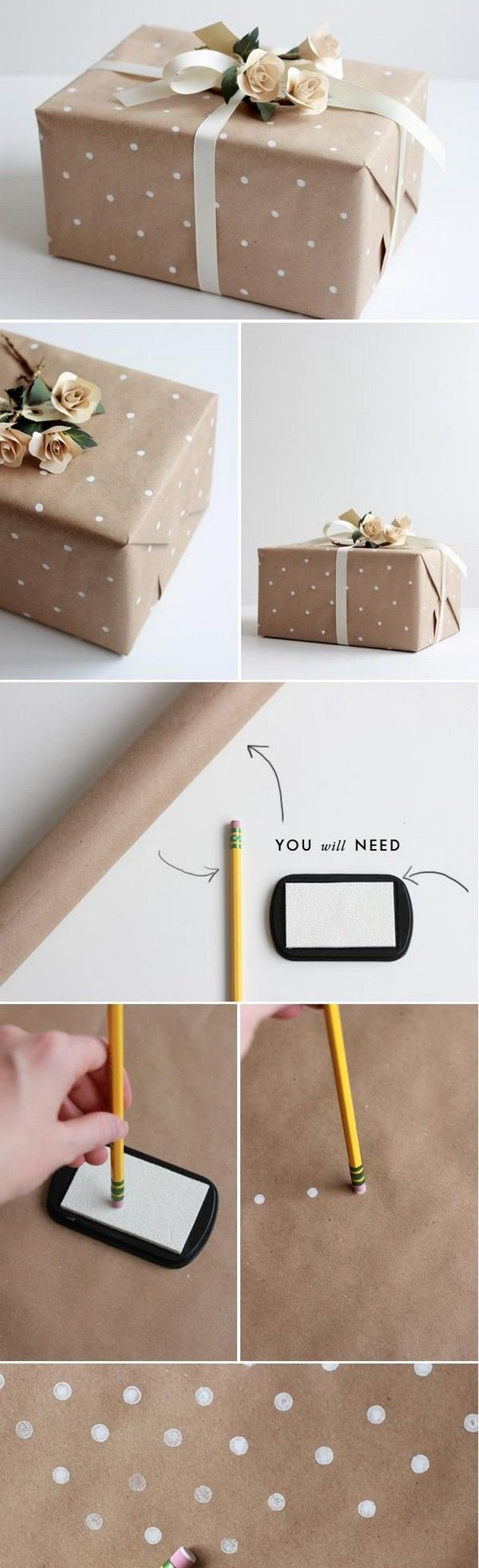 Gift Wrapping Ideas for Christmas brown kraft paper polka dots sail and swan