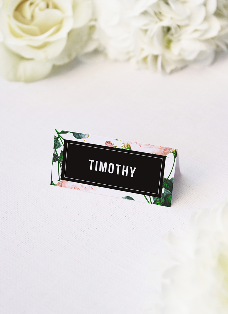 Rose Modern Vintage Wedding Name Place Cards Modern Rose Wedding Invitations