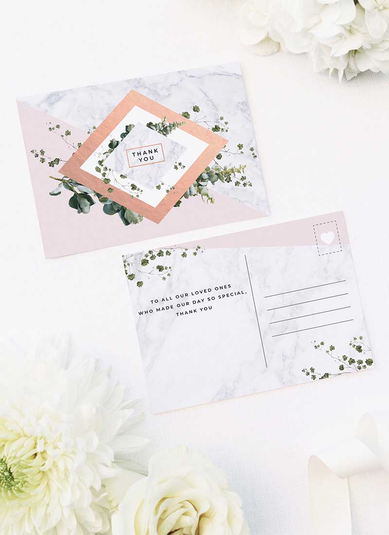 Modern Geometric Greenery Blush Pink Wedding Thank You Postcards Modern Geometric Marble Rose Gold Wedding Invitations