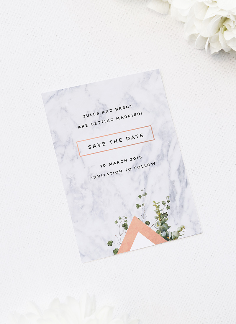 Modern Geometric Marble Rose Gold Save the Dates Modern Geometric Marble Rose Gold Wedding Invitations