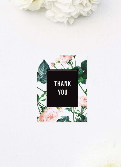 Modern Sophisticated Rose Wedding Thank You Cards Modern Rose Wedding Invitations
