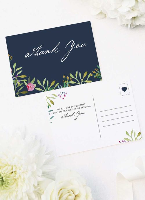 Floral Navy Wedding Thank You Postcards Navy Floral Watercolour Wedding Thank You Postcards Floral Navy Wedding Invitations