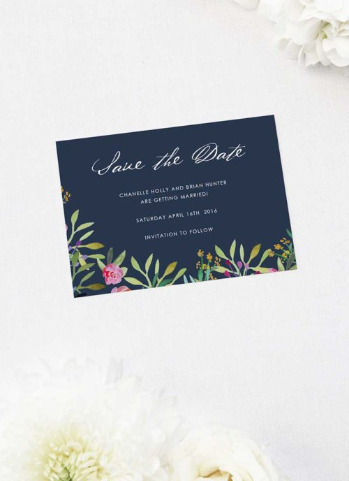 Floral Navy Save the Dates Floral Navy Wedding Invitations