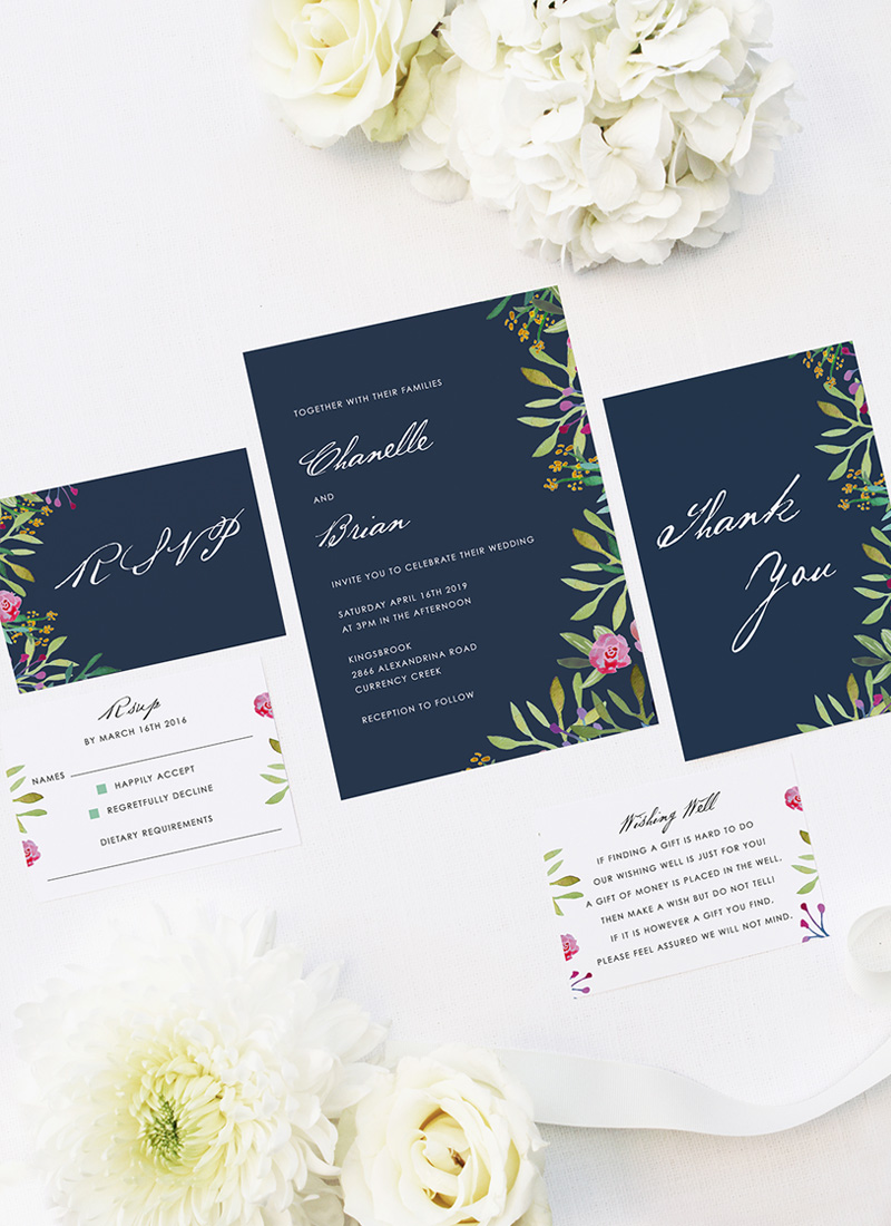Floral Navy Wedding Invitations