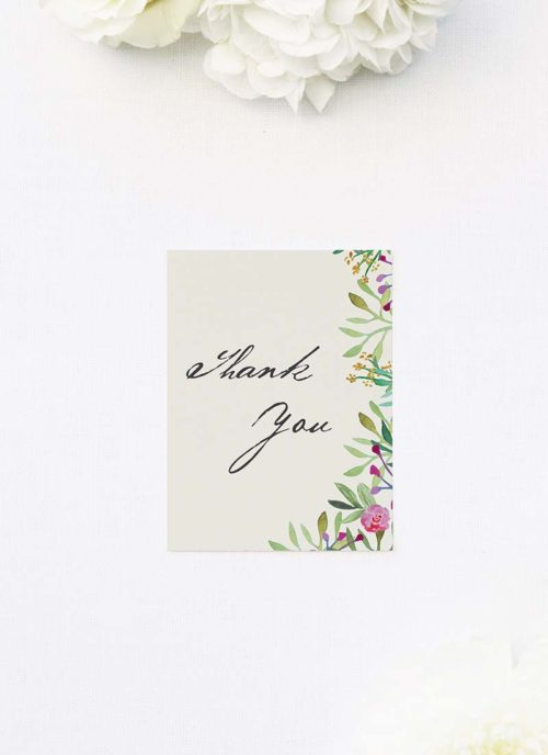 Forest Green Leaf Foliage Watercolour Wedding Thank You Cards Forest Foliage Watercolour Floral Wedding Invitations