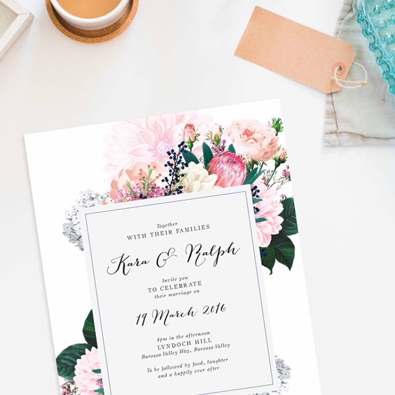 Pretty Protea Wedding Invitations
