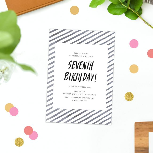 kids birthday invites black and white stripe invitations watercolour australia perth melbourne sydney canberra sail and swan