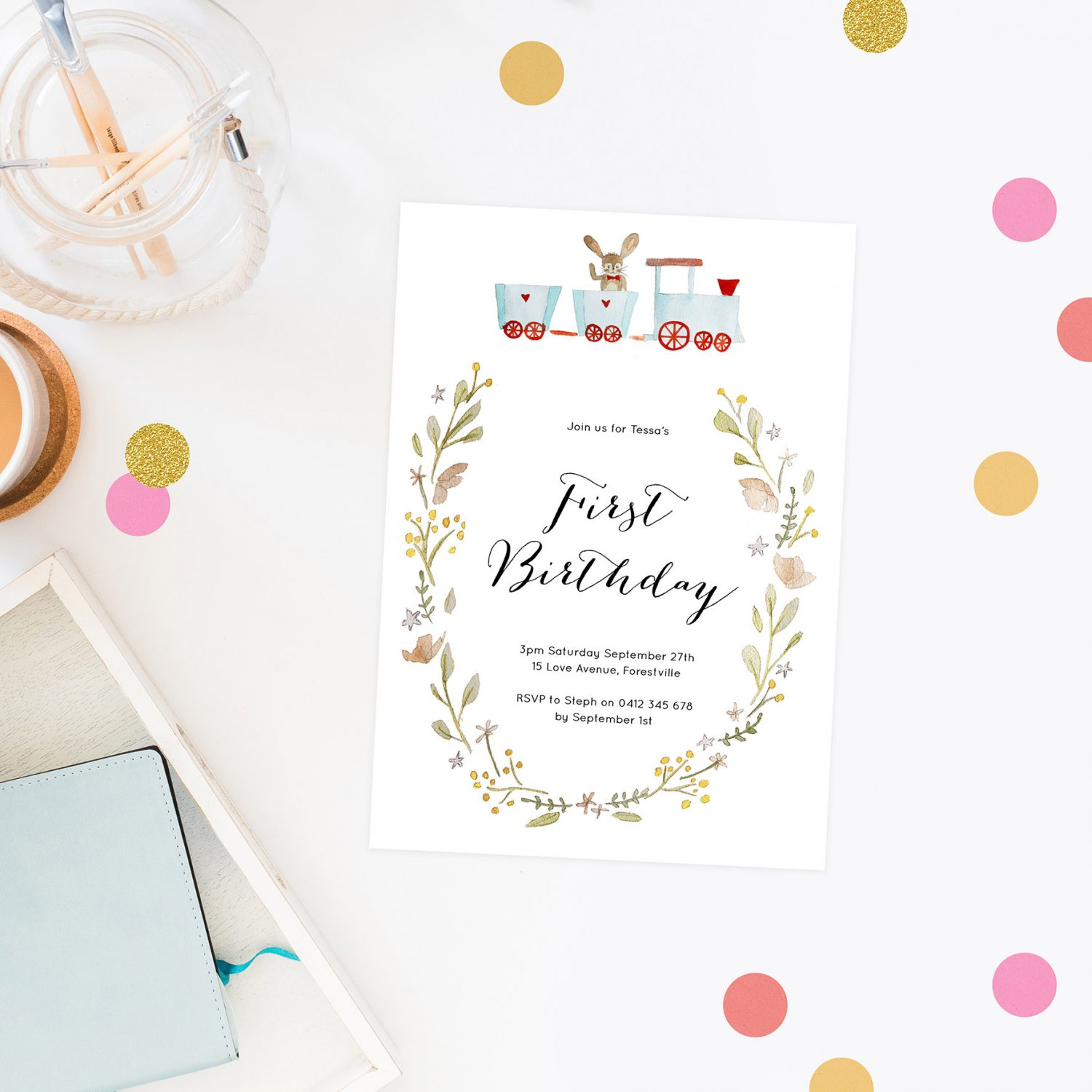 Watercolour Kids Birthday Invitations Bunny on a Train by Sail and Swan