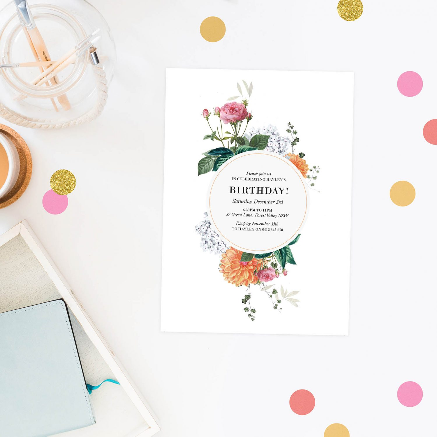 Floral Birthday Invitations Pink Peach Vintage Botanical Flowers Rose Roses Invites Australia Perth Sydney Melbourne