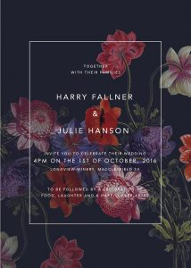 Dark Floral Purple Wedding InvitationsA5 invite Purple Wedding Inspiration