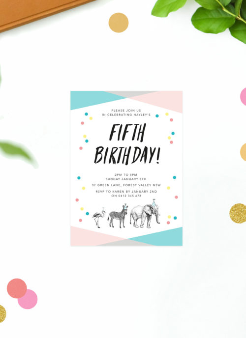 Confetti Stripe Kids Birthday Invitations Pink Yellow Blue Animals Elephant Zebra Kids Birthday Invites Australia Perth Sydney Melbourne Canberra Sail and Swan