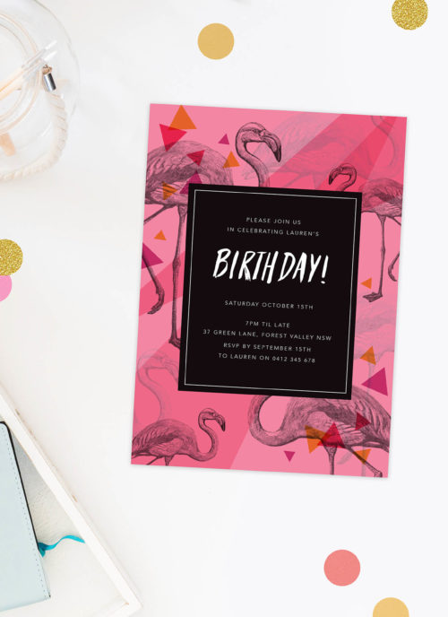 Tropical Flamingo Birthday Invitations Pink Fun Summer Party Birthday Invites Australia Perth Melbourne Sydney Canberra Brisbane Sail and Swan