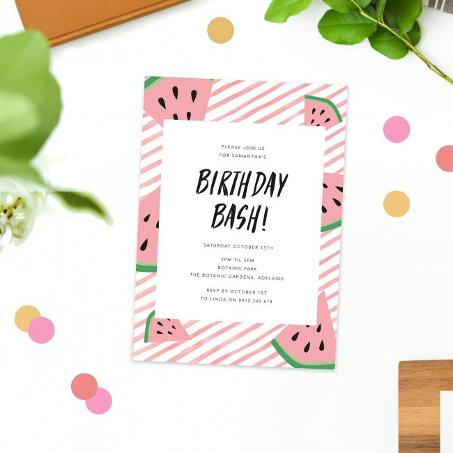 Kids Tropical Watermelon Birthday Invitations