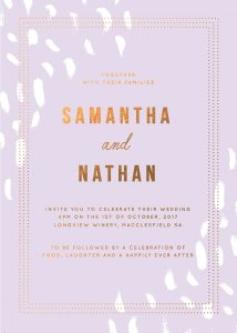 Lilac Pastel Wedding Invitations bronze Foil Pale Purple Wedding Inspiration Ideas