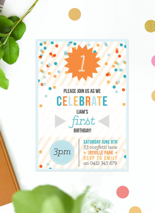 Confetti Kids Birthday Invitations Blue Orange Boy Boys Party Kids Birthday Invites Australia Perth Melbourne Sydney Brisbane Canberra Sail and Swan