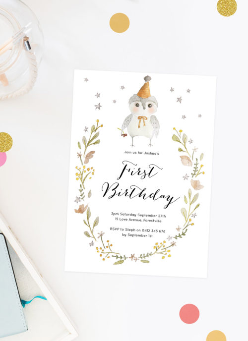 Owl Birthday Invitations Boy Girl Sail and Swan Adelaide Perth Brisbane Melbourne Sydney Hand Illustrated Sketch Gender Neutral Wreath