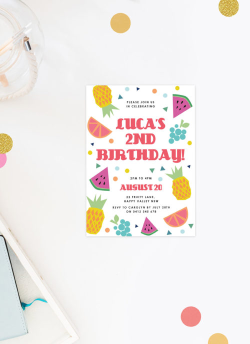 Tropical Fruit Kids Birthday Invitations Pineapple Watermelon summer party kids birthday invites australia sydney perth melbourne brisbane canberra sail and swan