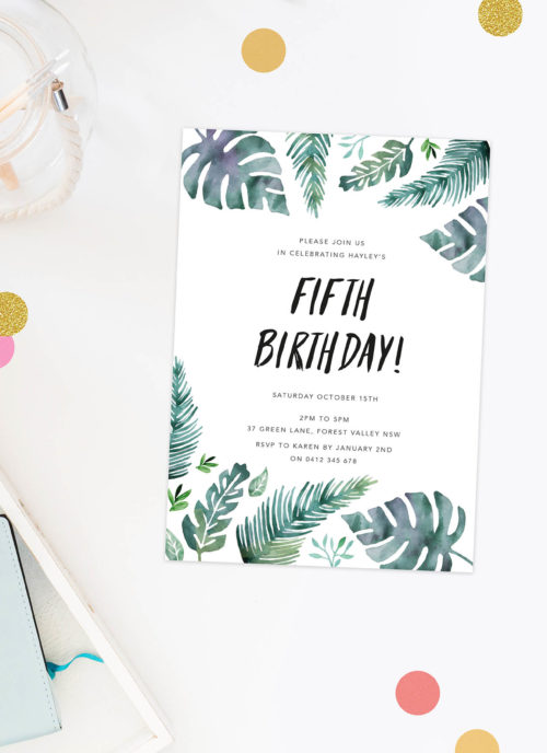 Kids Tropical Leaf Birthday Invitations Watercolour Monstera Plants Ferns Green Turquoise Kids Birthday Invites Australia Canberra Sydney Perth Melbourne Sail and Swan