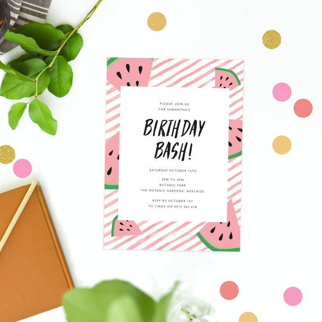 watermelon birthday invitations tropical fruit summer pink birthday invites australia sydney melbourne brisbane perth canberra sail and swan